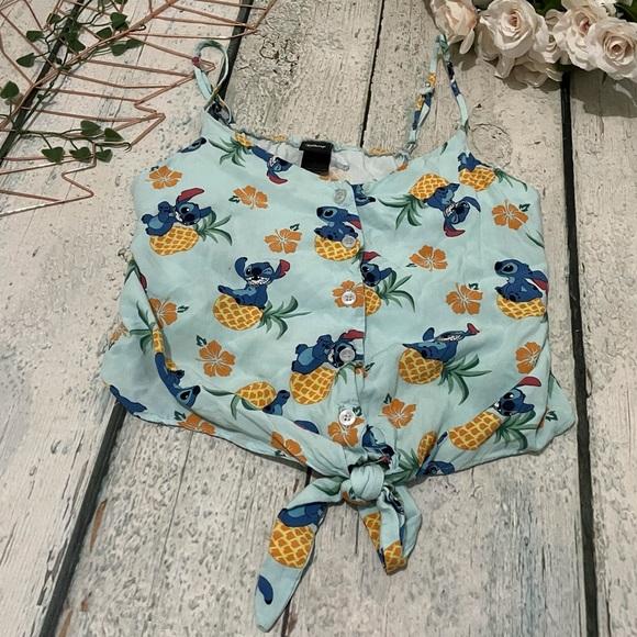 Disney Stitch small crop top blue pineapple Hawaii